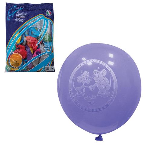 """Шары воздушные 10"""" (25 см), комплект 100 шт., 12 цветов металлик, 8 рисунков, в пакете, 1103-0005"""