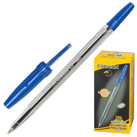 Ручка шариковая CORVINA (Италия) 51 CLASSIC, корпус прозрачный, 1 мм, 40163/02, синяя