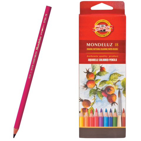 """Карандаши цветные акварельные художественные KOH-I-NOOR """"Mondeluz"""", 18 цветов, грифель 3,8 мм, заточенные, картонная упаковка, 3717018001KSRU"""