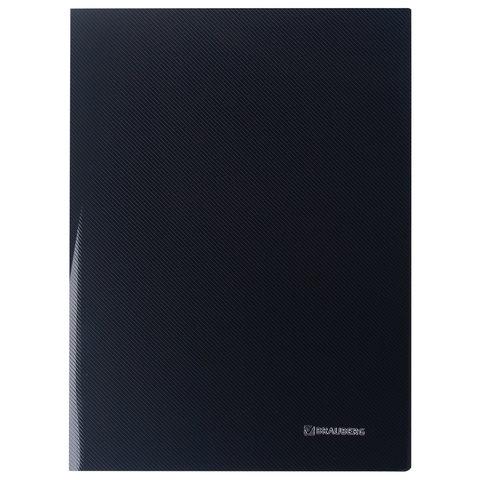 """Папка с боковым металлическим прижимом и внутренним карманом BRAUBERG """"Диагональ"""", черная, до 100 листов, 0,6 мм, 221356"""