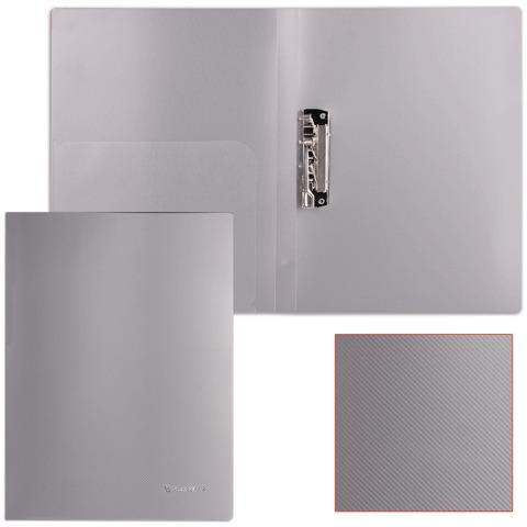Папка с боковым металлическим прижимом и внутренним карманом BRAUBERG диагональ, серебристая, до 100 листов, 0,6 мм, 221358