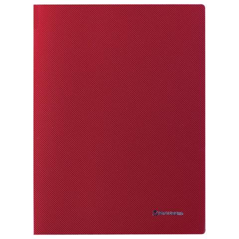 """Папка с боковым металлическим прижимом и внутренним карманом BRAUBERG """"Диагональ"""", темно-красная, до 100 листов, 0,6 мм, 221360"""