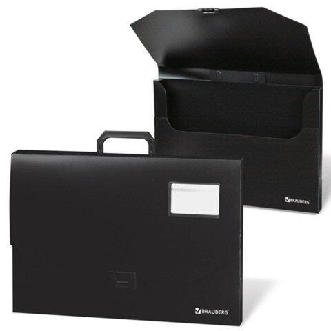 Портфель пластиковый BRAUBERG, А3, 450х315х60 мм, без отделений, черный, 221371