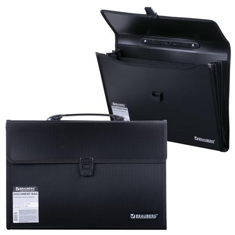 Портфель пластиковый BRAUBERG, 390х260х40 мм, 3 отделения, с окантовкой, черный, 221389
