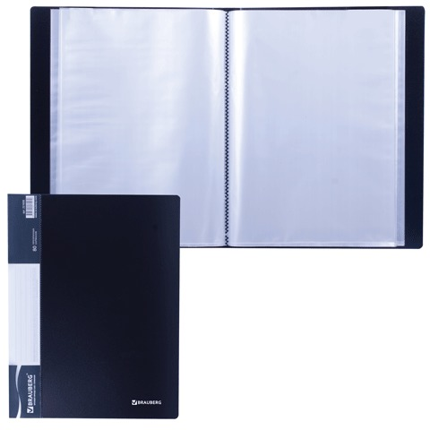 Папка 80 вкладышей BRAUBERG стандарт, черная, 0,9 мм, 221608