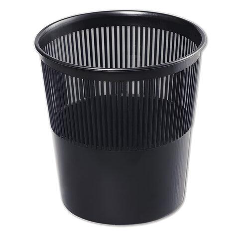 Корзина для бумаг СТАММ, сетчатая, 9 л, черная, КР21