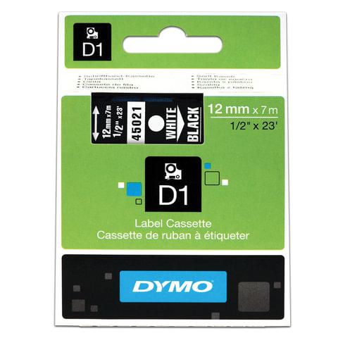Картридж для принтеров этикеток DYMO D1, 12 мм х 7 м, лента пластиковая, белый шрифт, черный фон, S0720610