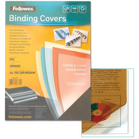 Обложки для переплета FELLOWES, комплект 100 шт., Transparent, А4, пластиковые, 200 мкм, прозрачно-дымчатые, FS-53774
