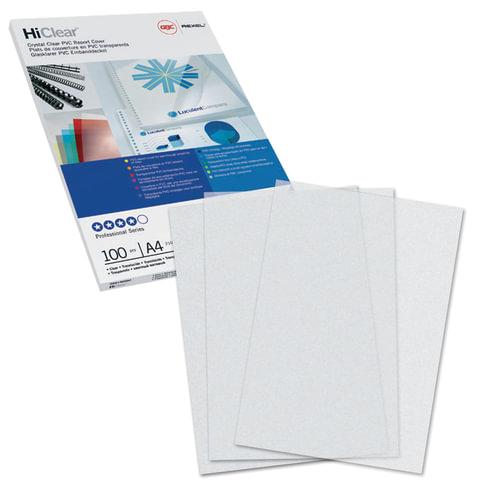 Обложки для переплета GBC (Англия), комплект 100 шт., PVC Transparent, A4, пластиковые, 200 мкм, прозрачные, CE012080E