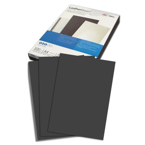 Обложки для переплета GBC (Англия), комплект 100 шт., LeatherGrain (тиснение под кожу), A4, картон, черные, 040010/4401980