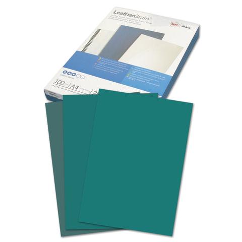 Обложки для переплета GBC (Англия), комплект 100 шт., LeatherGrain (тиснение под кожу), A4, картон, зеленые, CE040045