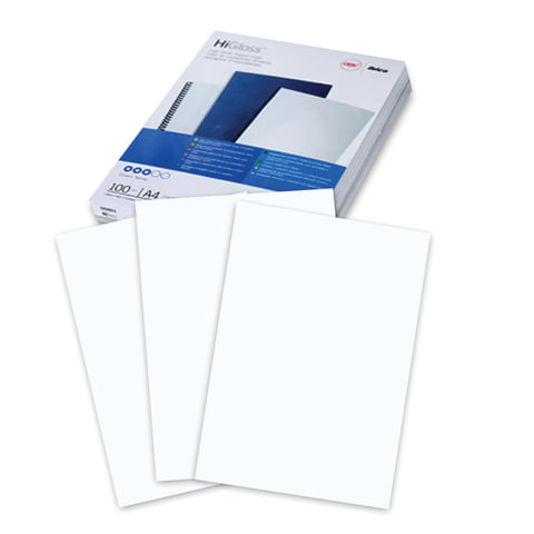 Обложки для переплета GBC (Англия), комплект 100 шт., HiGloss, А4, картон 250 г/м<sup>2</sup>, белые, CE020071