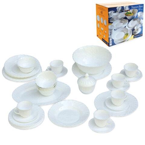 """Набор посуды столовый """"TRIANON"""", 40 предметов, белое стекло, LUMINARC, 00193"""
