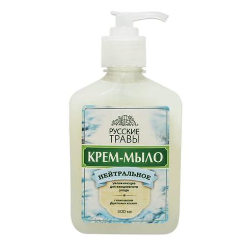 Мыло-крем жидкое 300 мл, РУССКИЕ ТРАВЫ, нейтральное, дозатор, К06-3