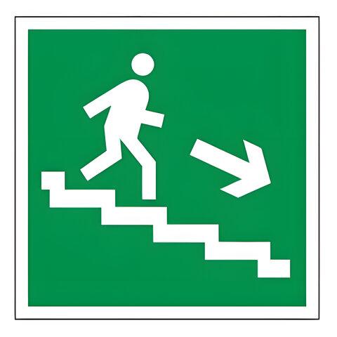 "Знак эвакуационный ""Направление к эвакуационному выходу по лестнице НАПРАВО вниз"", квадрат 200х200мм, 610018/Е 13"
