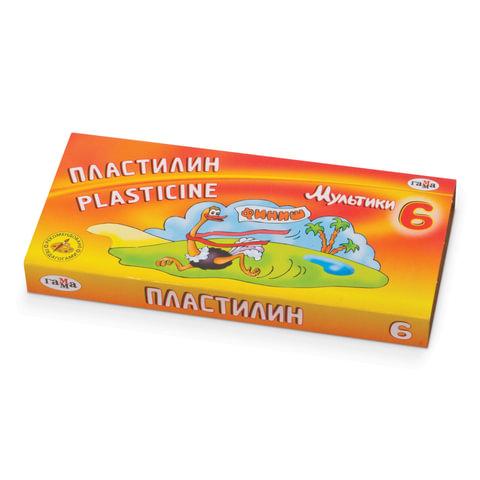 """Пластилин классический ГАММА """"Мультики"""", 6 цветов, 120 г, со стеком, картонная упаковка, 280015,281015"""
