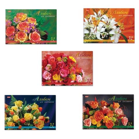 """Альбом для рисования, 32 л., HATBER, спираль, блестки, 100 г/м<sup>2</sup>, """"Роскошные цветы"""" (5 видов), 32А4блВсп, A42816"""