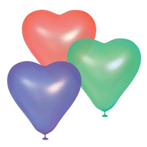 """Шары воздушные 10"""" (25см), КОМПЛЕКТ 100шт., """"Сердце"""", 12 неоновых цветов, в пакете, 1105-0023"""