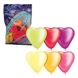 """Шары воздушные 10"""" (25 см), комплект 50 шт., """"Сердце"""", 12 неоновых цветов, в пакете, 1105-0023"""