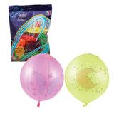 """Шары воздушные 16"""" (41см), комплект 25 шт., панч-болл (шар-игрушка с резинкой), 12 неоновых цветов, 8 рисунков, пакет, 1104-0008"""