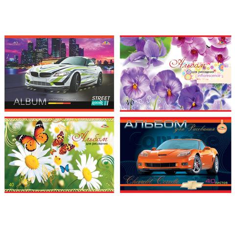 Альбом для рисования, А4, 40 листов, скоба, обложка офсет, АППЛИКА, 202х285 мм,