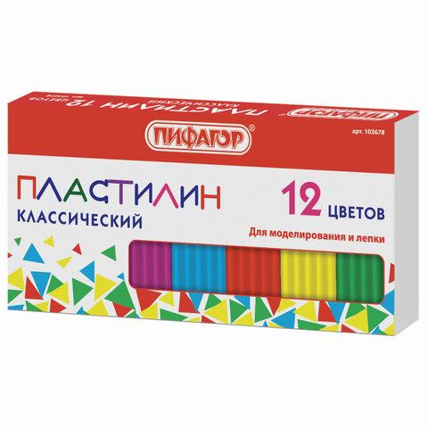 Пластилин классический STAFF\ПИФАГОР, 12 цветов, 120 г, картонная упаковка, 103678
