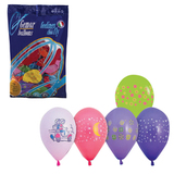 """Шары воздушные 10"""" (25 см), комплект 100 шт., 12 пастельных цветов, 8 рисунков, в пакете, 1103-0007"""
