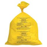 Мешки для мусора медицинские КОМПЛЕКТ 50 шт., класс Б (желтые), 30 л, 50х60 см, 14 мкм, АКВИКОМП