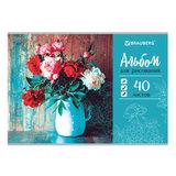 """Альбом для рисования А4 40 л., скоба, выборочный лак, BRAUBERG, 202х285 мм, """"Цветы в вазе"""" (1 вид), 105100"""