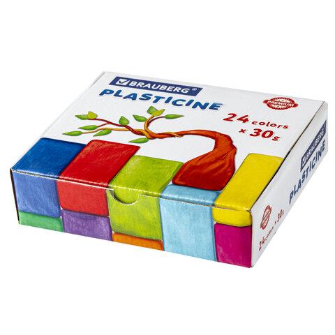 Пластилин классический BRAUBERG PREMIUM, 24 цвета, 720 г, ВЫСШЕЕ КАЧЕСТВО, 105869