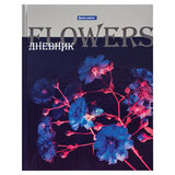 """Дневник 5-11 класс, 48 л., твердый, BRAUBERG, металлизированный картон, с подсказом, """"Flowers"""", 106081"""