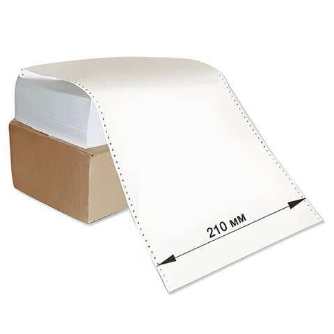 """Бумага с неотрывной перфорацией, 210х305(12"""")х2000 (1600 л.), плотность 65 г/м<sup>2</sup>, белизна 98%, STARLESS"""