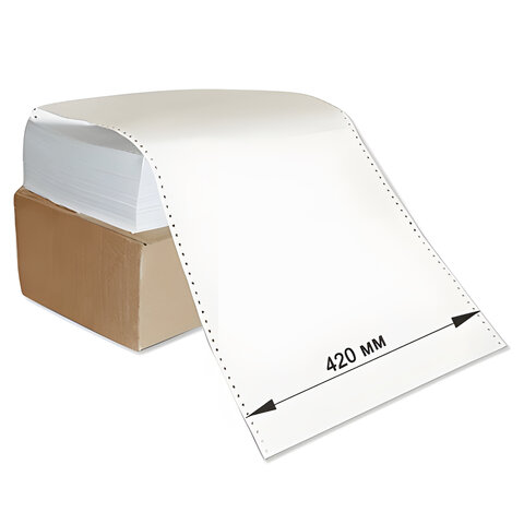 Бумага с неотрывной перфорацией, 420х305(12&quot;)х2000 (1600 л.), плотность 65 г/м<sup>2</sup>, белизна 98%, STARLESS