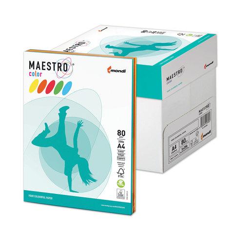 Бумага MAESTRO color А4, 80 г/м<sup>2</sup>, 250 л. (5 цв.x 50 л.), цветная, интенсивная RB02