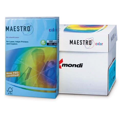 Бумага MAESTRO color А4, 160 г/м<sup>2</sup>, 250 л., интенсивная светло-синяя AB48