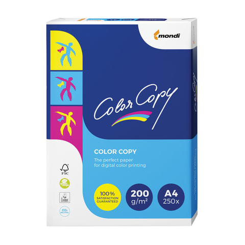 Бумага COLOR COPY, А4, 200 г/м2, 250 л., для полноцветной лазерной печати, А++, Австрия, 161% (CIE), A4-26461