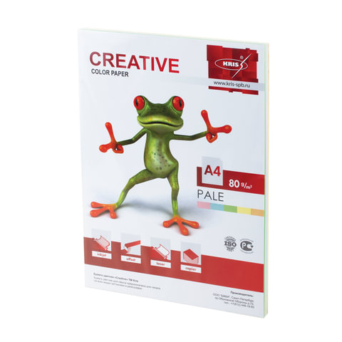 Бумага CREATIVE color (Креатив), А4, 80 г/м<sup>2</sup>, 100 л. (5 цв.х20 л.), цветная пастель, БПpr-100r