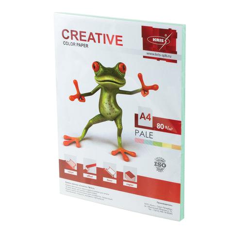 Бумага цветная CREATIVE color (Креатив) А4, 80 г/м2, 100 л., пастель, зеленая, БПpr-100з