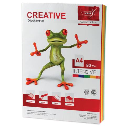 Бумага CREATIVE color (Креатив), А4, 80 г/м<sup>2</sup>, 100 л. (5 цв.х20 л.), цветная интенсив, БИpr-100r