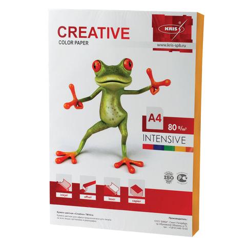 Бумага цветная CREATIVE color, А4, 80 г/м2, 100 л., интенсив, оранжевая, БИpr-100ор