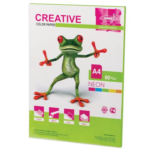 Бумага CREATIVE color (Креатив), А4, 80 г/м<sup>2</sup>, 50 л., неон салатовая, БНpr-50с