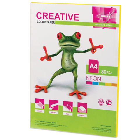 Бумага CREATIVE color (Креатив), А4, 80 г/м<sup>2</sup>, 50 л., неон желтая, БНpr-50ж