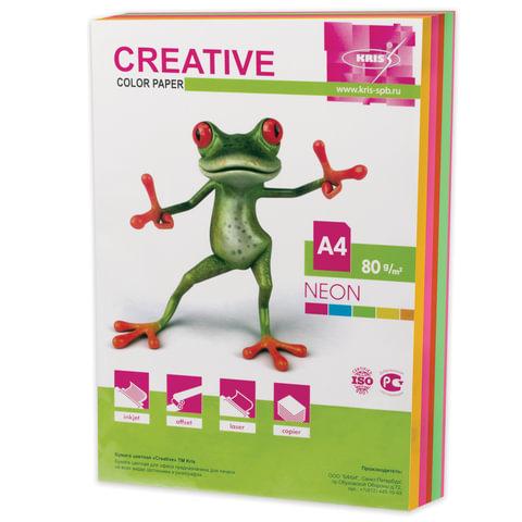 Бумага CREATIVE color (Креатив), А4, 80 г/м<sup>2</sup>, 250 л. (5 цв. х 50 л.), цветная неон, БНpr-250r