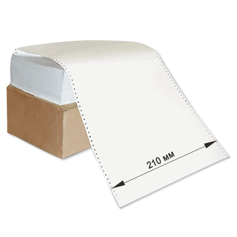 """Бумага с неотрывной перфорацией, 210х305 (12"""") х 1500 л., плотность 60 г/м<sup>2</sup>, белизна 93%, 350011"""