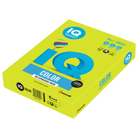 Бумага IQ color, А4, 80 г/м<sup>2</sup>, 500 л., неон зеленая NEOGN