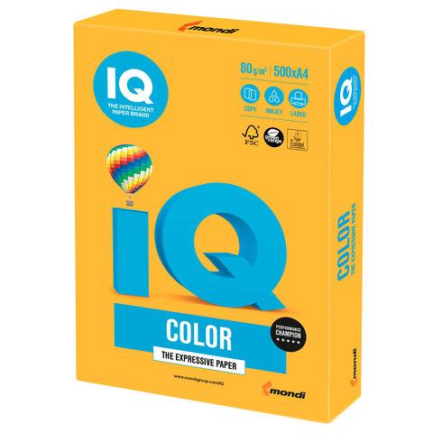 Бумага IQ color, А4, 80 г/м<sup>2</sup>, 500 л., неон оранжевая NEOOR
