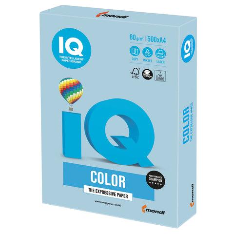 Бумага цветная IQ color, А4, 80 г/м2, 500 л., пастель, голубой лед, OBL70