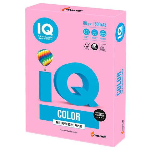 Бумага IQ color, А3, 80 г/м<sup>2</sup>, 500 л., неон розовая NEOPI