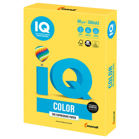 Бумага IQ color, А3, 80 г/м<sup>2</sup>, 500 л., интенсив канареечно-желтая CY39