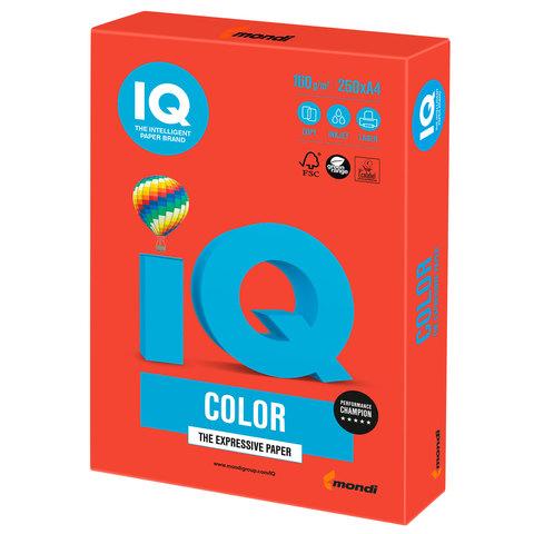 Бумага IQ color, А4, 160 г/м<sup>2</sup>, 250 л., интенсив кораллово-красная CO44